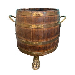 18th-19th Century English Brass Bound Wooden Bucket
