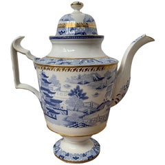 18th-19th Century English Coalport Blue and White Porcelain Teapot, Unmarked
