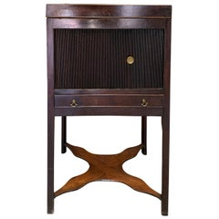 18th-19th Century English Flamed Mahogany & Parquetry Tambour Door Bedside Table