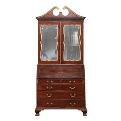 18th-19th Century English George II Mahogany and Parcel-Gilt Bureau Secretary