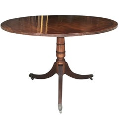 18th-19th Century English George III Round Mahogany Table, Brass Inlay