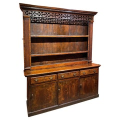 18th/19th Century English Two Part Inlaid Oak Welsh Cupboard or Dresser