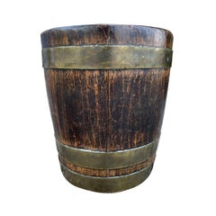 18th-19th Century English Wood and Brass Bucket / Planter