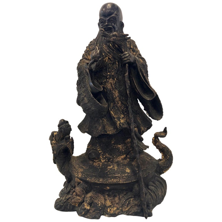 18th-19th Century Figure One of the Three Gods of Good Fortune For Sale