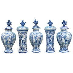 18th/19th Century Five Piece Delft Blue & White Garniture Set