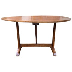 18th-19th Century French Fruitwood Round Tilt-Top Wine Tasting Table