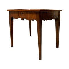 18th-19th Century French Fruitwood Tric-Trac Game Table with Leather Inset