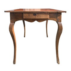 18th-19th Century French Leather Top Table with Drawer, Wonderful Patina