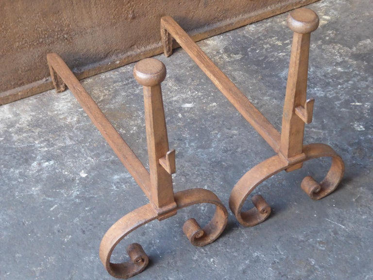 Forged 18th-19th Century French Louis XV Andirons or Firedogs For Sale