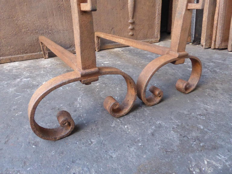 18th-19th Century French Louis XV Andirons or Firedogs For Sale 3