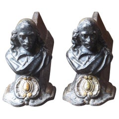 18th-19th Century French Louis XV Andirons or Firedogs