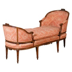 "18th-19th Century French Louis XVI Chaise Lounge, Signed ""Pillot"""