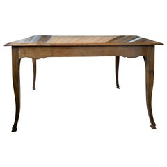 18th-19th Century French Oak Table with Side Drawer