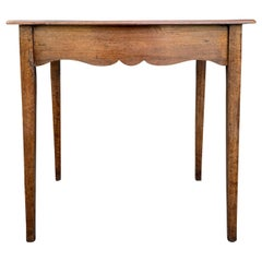 18th-19th Century French Provincial Rectangular Side Table with Scalloped Apron