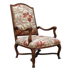 18th-19th Century French Provincial Walnut Regence Armchair with Stretcher