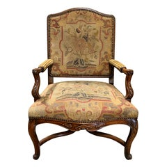 18th-19th Century French Regence Walnut Armchair with Needlepoint