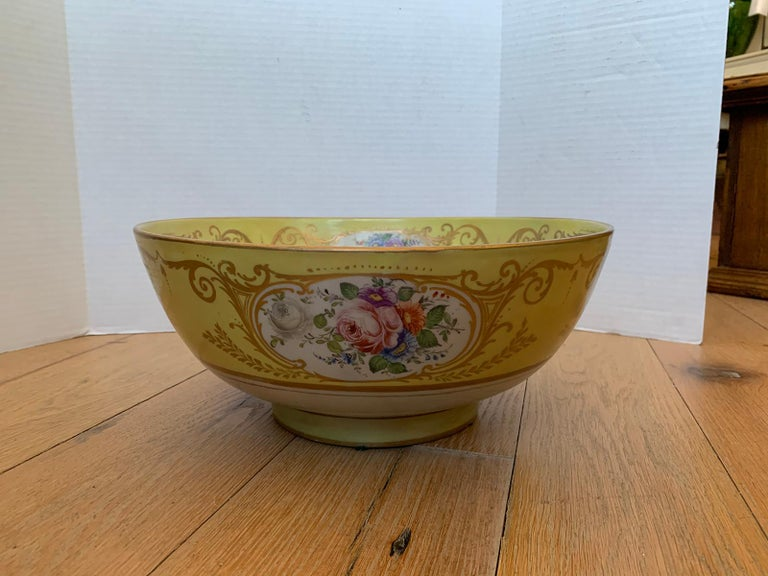 18th-19th century French Sèvres Porcelain punch bowl with gilt decoration, marked.
