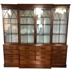 18th-19th Century Georgian Mahogany Breakfront Bookcase