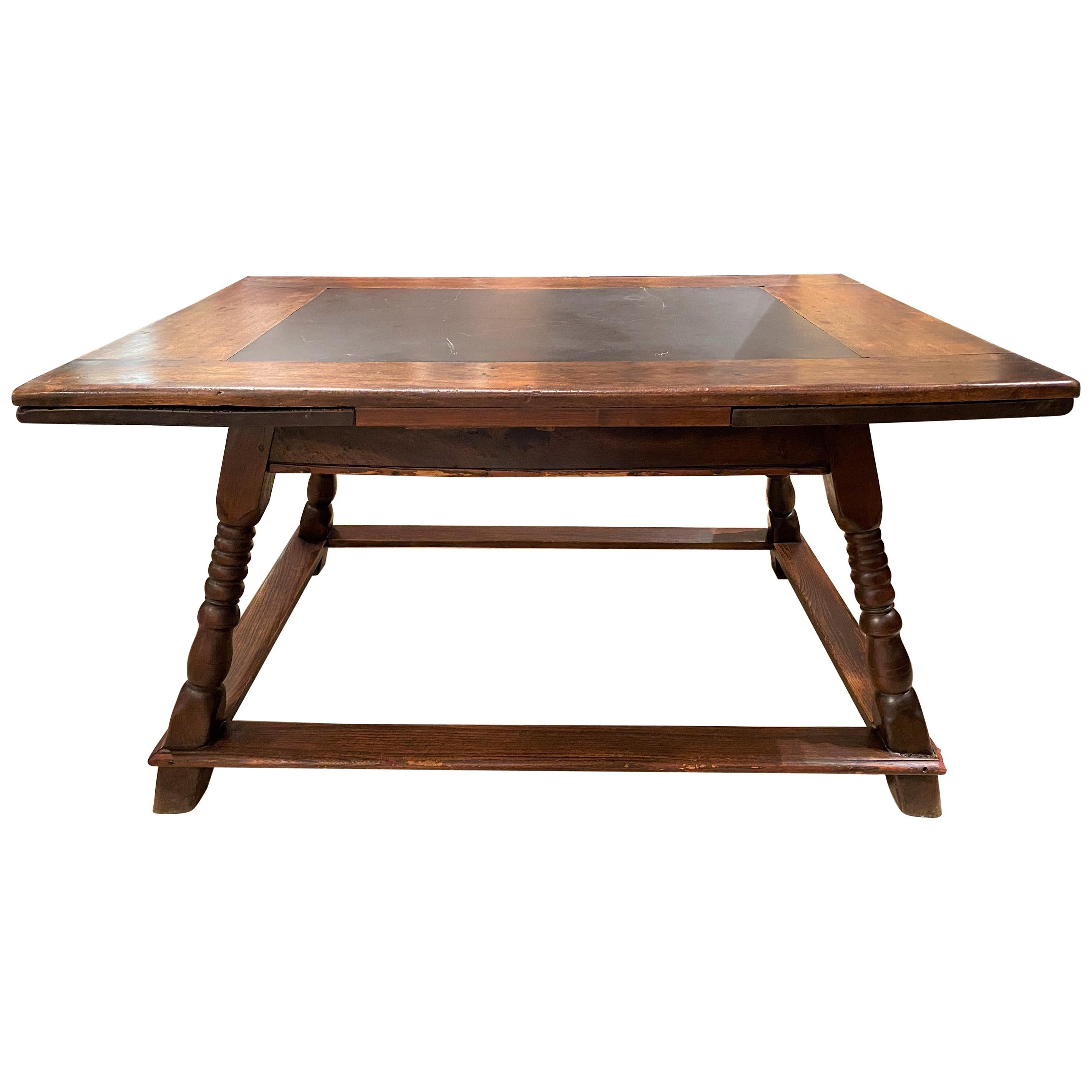 18th-19th Century German or Swiss Walnut Draw Leaf Dining Table with Slate Top