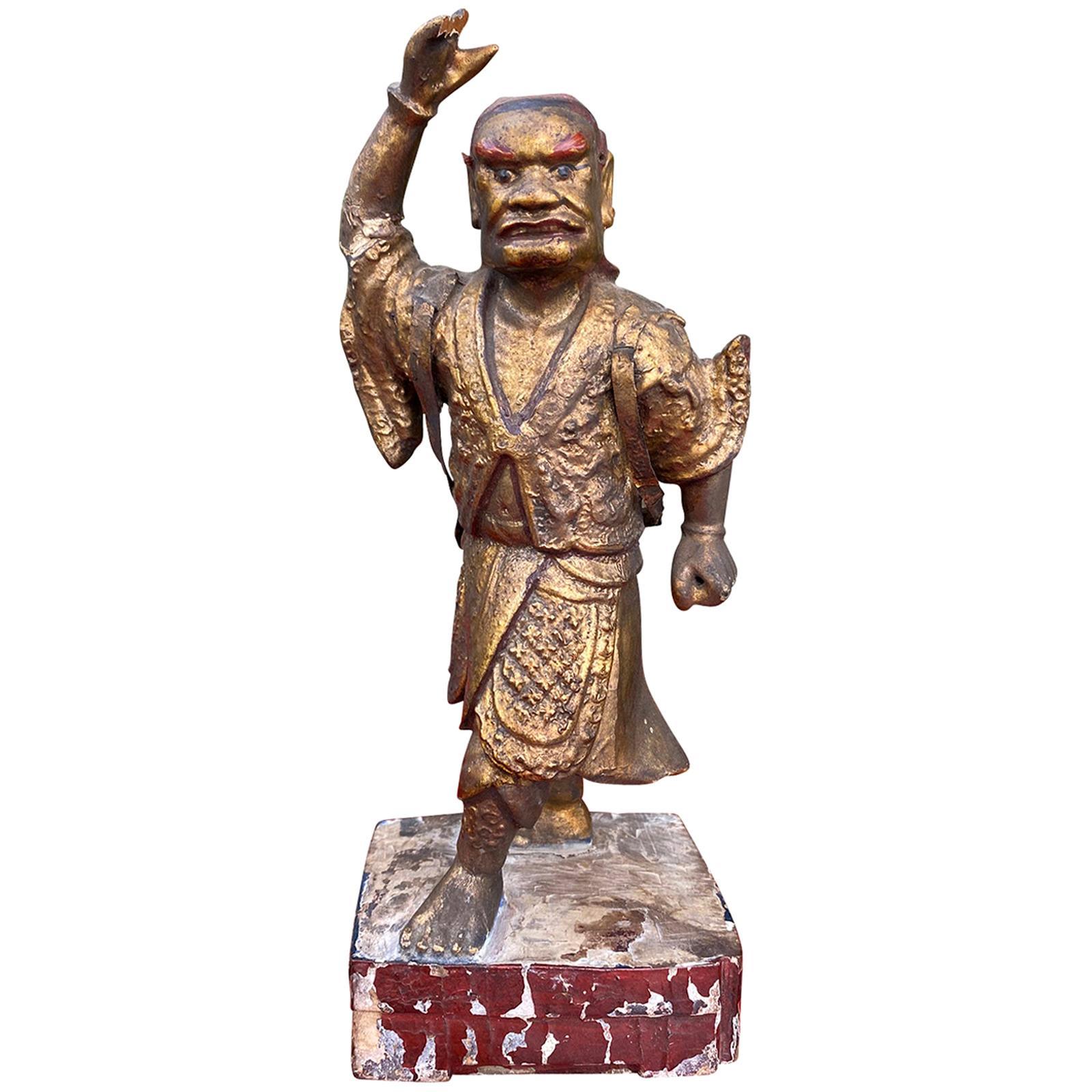18th-19th Century Giltwood Samurai Figure