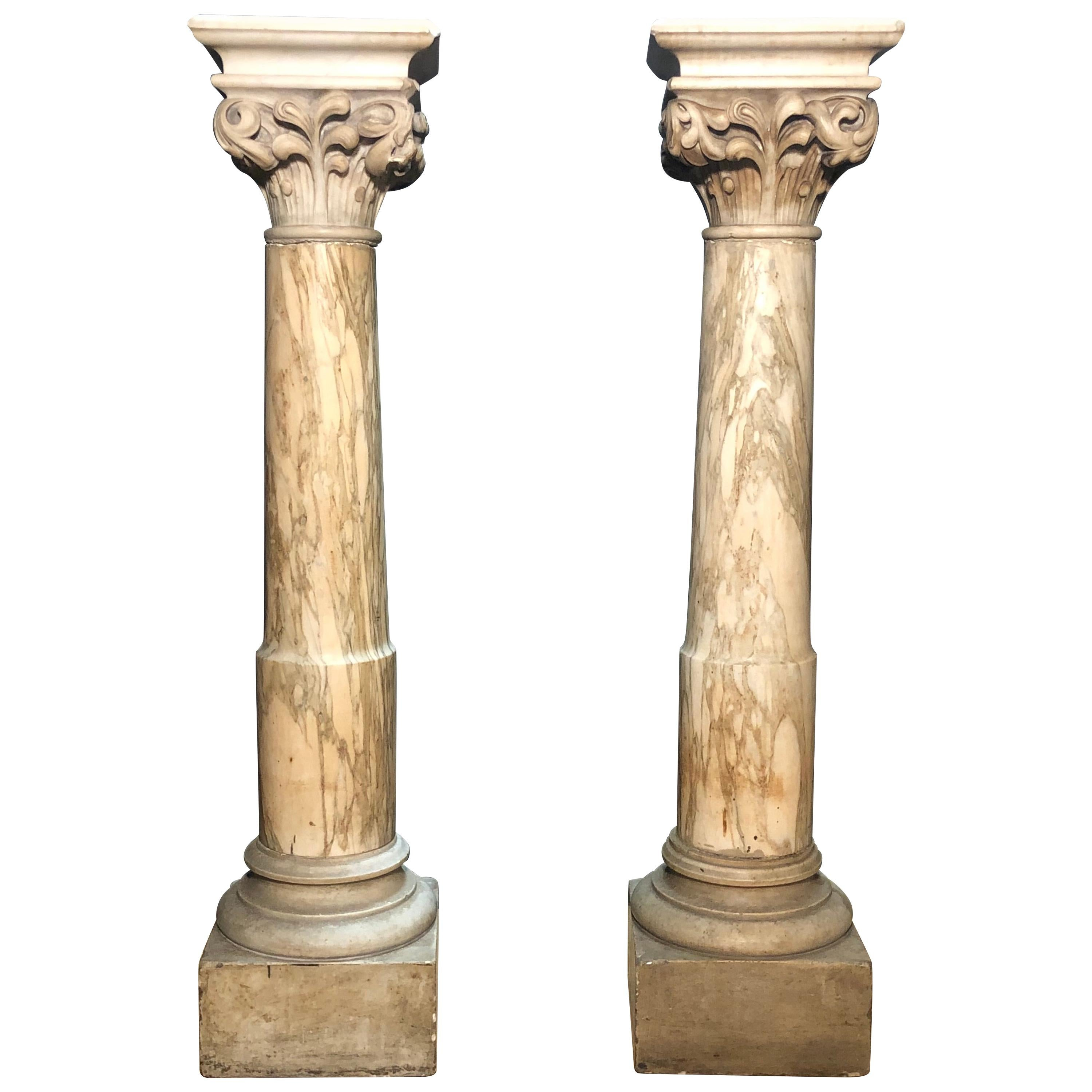 18th-19th Century Grand Tour Italian Carved Marble Pedestals