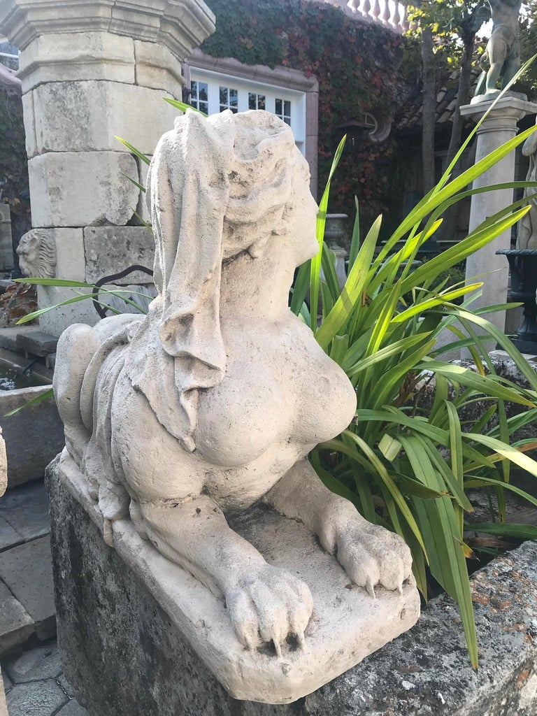 18th-19th Century Hand Carved Stone Statues Sphinx Sculpture Statuary Antiques For Sale 6