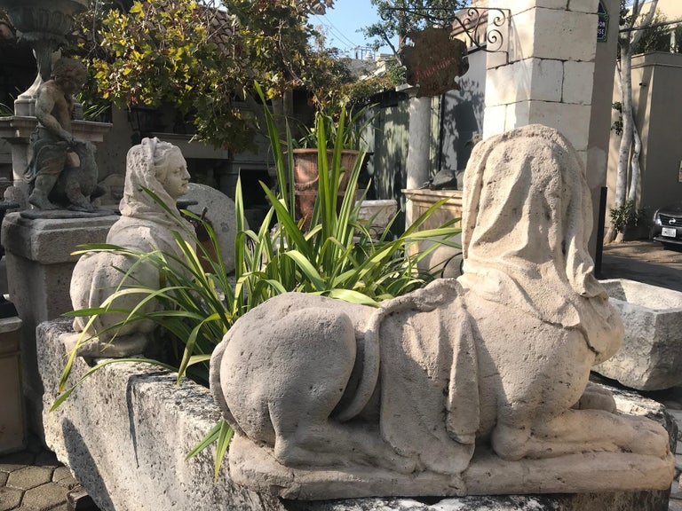 French 18th-19th Century Hand Carved Stone Statues Sphinx Sculpture Statuary Antiques For Sale