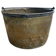 18th-19th Century Handmade Brass Bucket by Hudson Bay Company, Marked