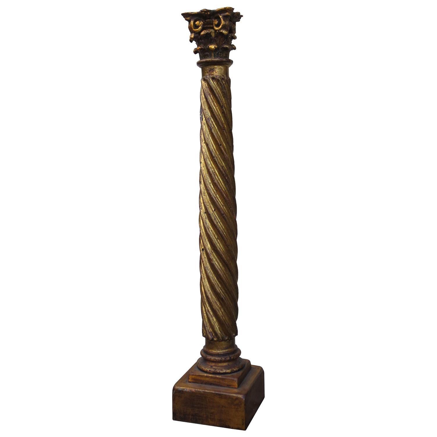 18th-19th Century Italian Giltwood Corinthian Column