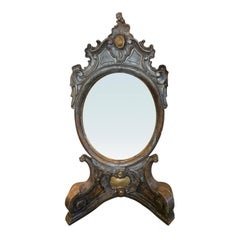 18th-19th Century Italian Giltwood Dressing Mirror with Stand