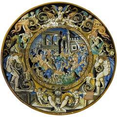 18th-19th Century Italian Istoriato Dish with Renaissance Figures