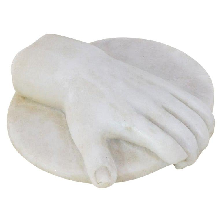 18th-19th Century Italian Marble Fragment of a Hand Holding a Disc For Sale