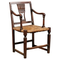 18th-19th Century Italian Provincial Rush Seat Armchair with Splat Back