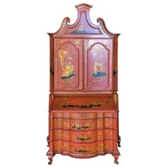 18th-19th Century Italian Red Chinoiserie Secretary