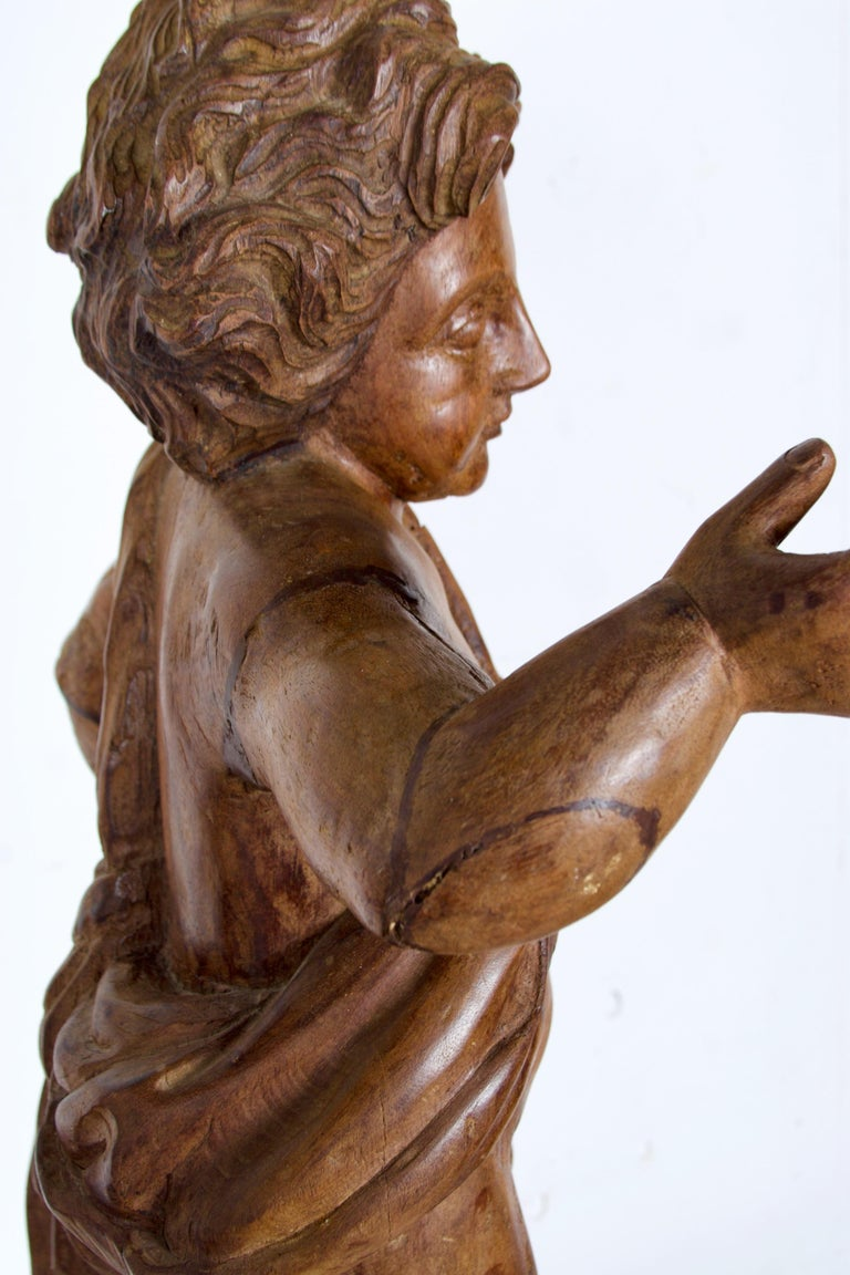 18th-19th Century Italian Wood Carved Angel For Sale 5