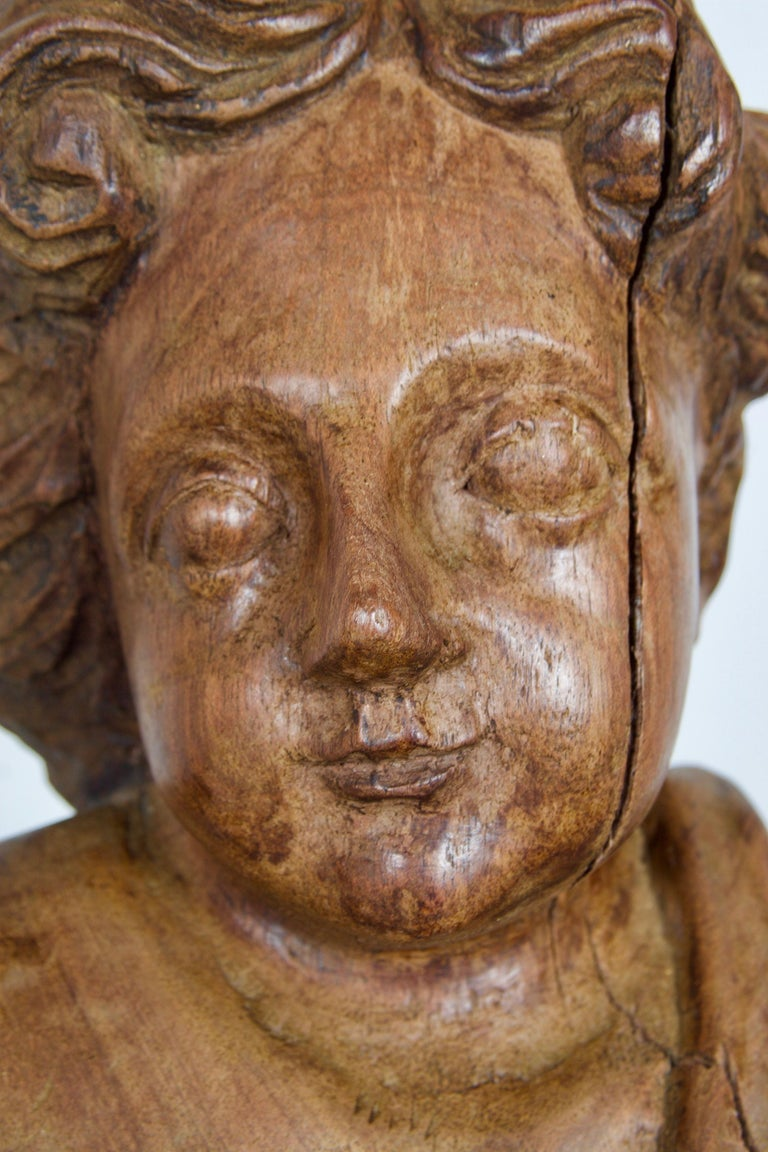 18th-19th Century Italian Wood Carved Angel For Sale 8