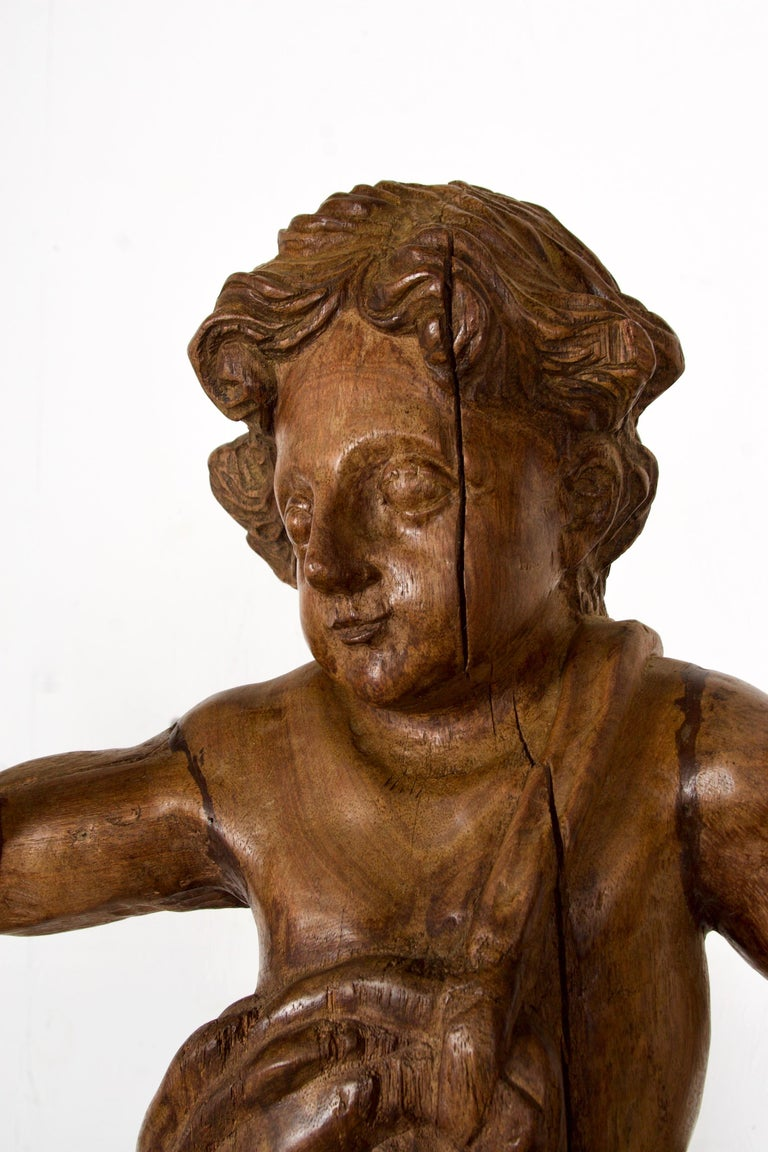 Baroque 18th-19th Century Italian Wood Carved Angel For Sale