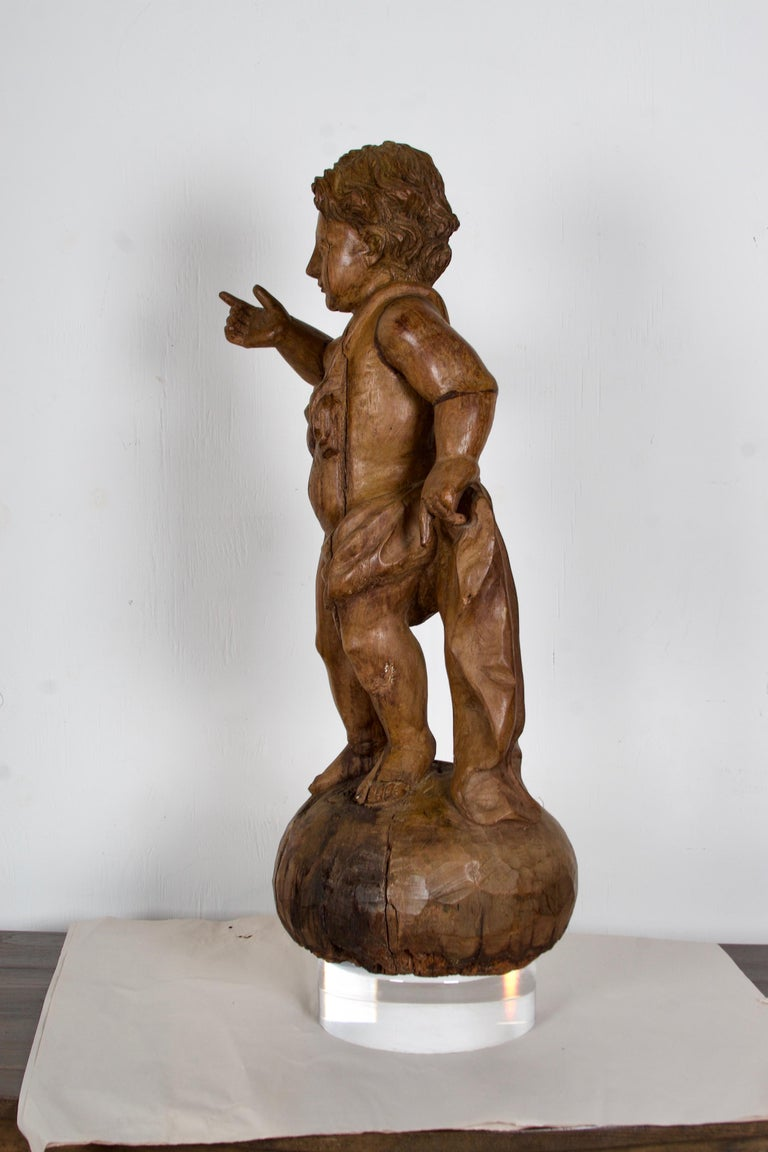 18th Century 18th-19th Century Italian Wood Carved Angel For Sale
