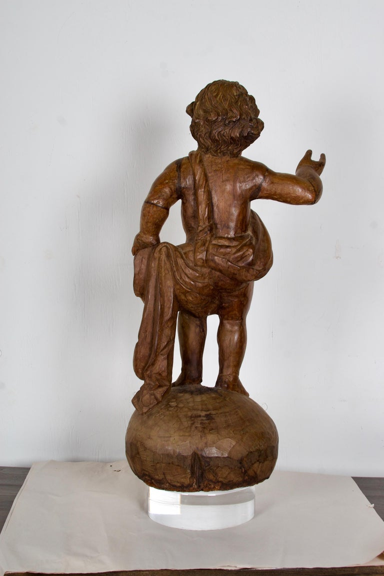 18th-19th Century Italian Wood Carved Angel For Sale 2