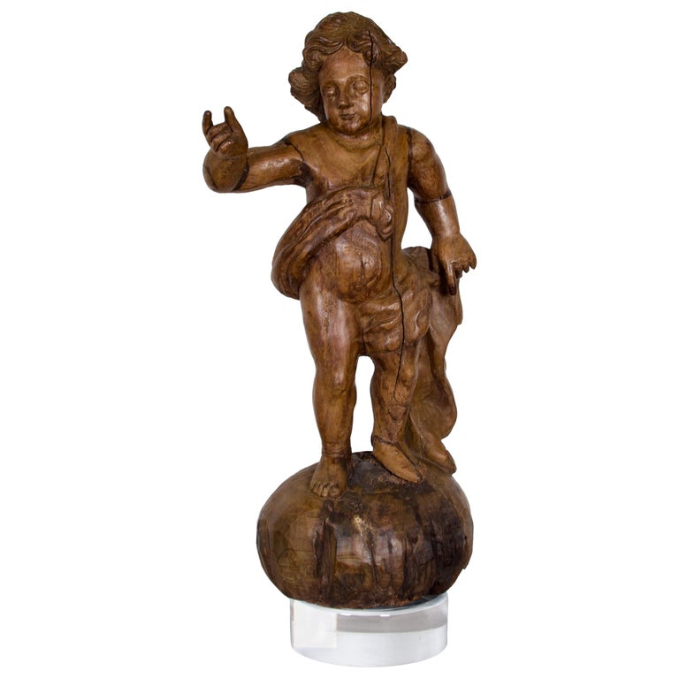 18th-19th Century Italian Wood Carved Angel For Sale