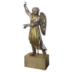 18th-19th Century Large Giltwood Angel on Custom Base