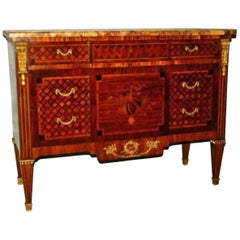 18th-19th Century Louis XVI Marquestry and Parquestry Marble-Top Commode