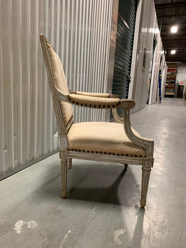 18th-19th Century Louis XVI Style Painted Armchair In Good Condition For Sale In Atlanta, GA