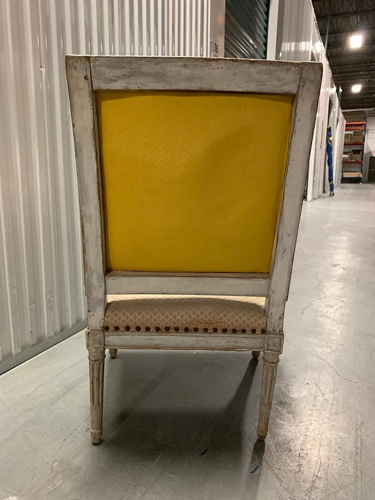 18th Century 18th-19th Century Louis XVI Style Painted Armchair For Sale