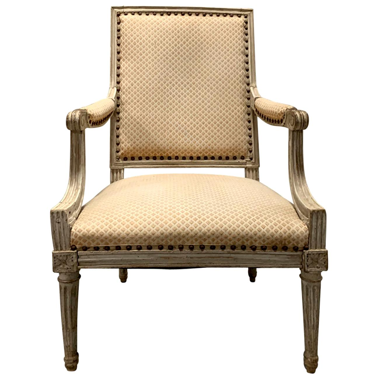 18th-19th Century Louis XVI Style Painted Armchair