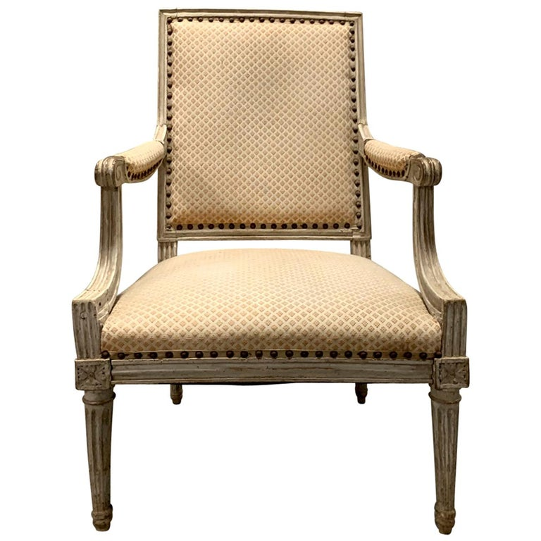18th-19th Century Louis XVI Style Painted Armchair For Sale