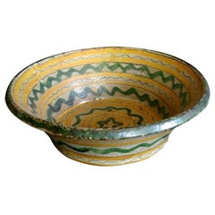 18th-19th  Century Majolica Ceramic Baptismal Bowl