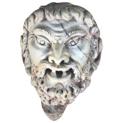 18th-19th Century Marble Satyr Mask Fragment, Italian Decor