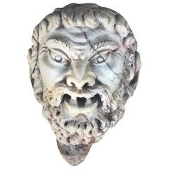 18th-19th Century Marble Satyr Mask Fragment, Italian Decor