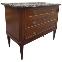 18th-19th Century Marble-Top Louis XVI Style Mahogany Chest